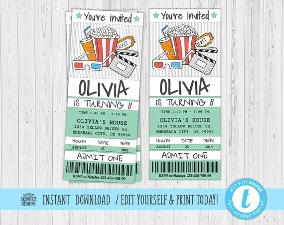 movie ticket invitation movie party invitation ticket printable