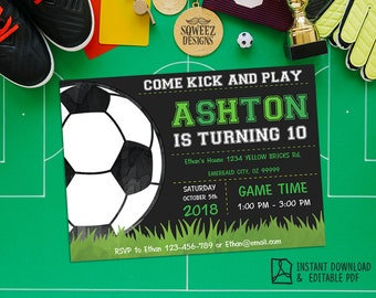 Soccer Invitation, Soccer birthday invitation, Soccer Party - Instant Download Editable PDF