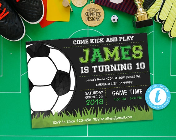 Soccer Invitation Birthday Party Supplies Football