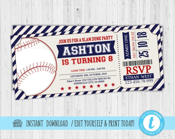 Baseball Invitations Birthday Ticket Invitation