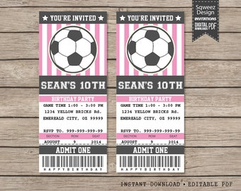 Soccer Birthday Party Invitation Ticket Printable, Soccer birthday invitation, Soccer Party - Instant Download Editable PDF
