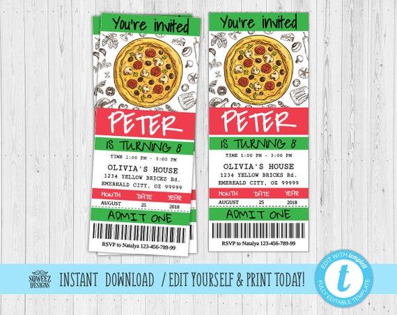 pizza party invitation pizza birthday party team party etsy