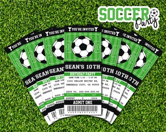 Soccer Invitations Soccer Ticket Invitation Soccer Party Soccer Birthday Invitation DIY Party Printable - Instant Download Editable PDF