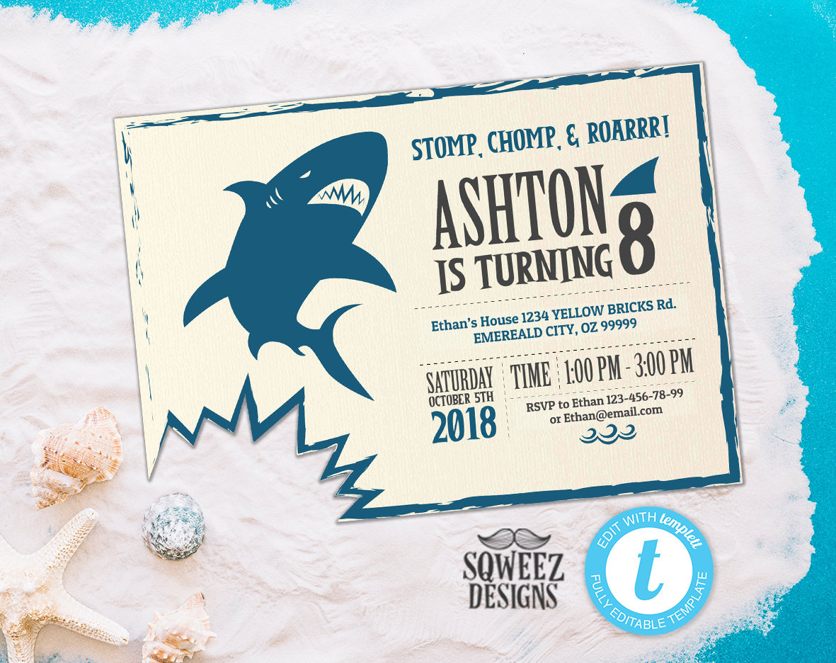 Shark Invitation Shark Birthday Invitation Shark Themed | Etsy
