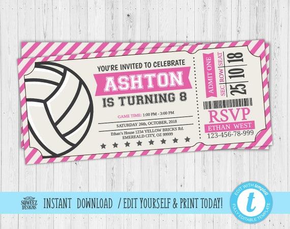 Volleyball Invitation, Volleyball Birthday Invitation, Volleyball Ticket,  Volleyball Girl Pink- Instant Download & Editable File - Templett