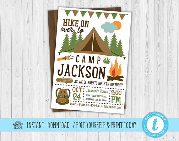 camping invitation campfire invitation camping birthday invitation