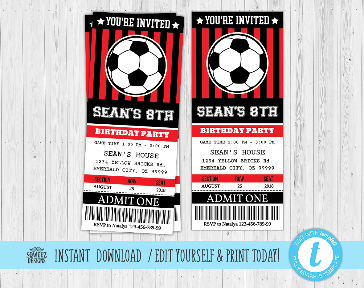 Soccer Ticket Invitation Soccer Invitation Soccer Birthday | Etsy