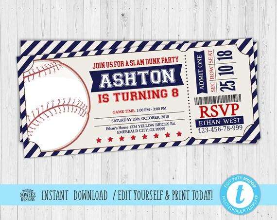 baseball invitations baseball ticket invitations sport etsy