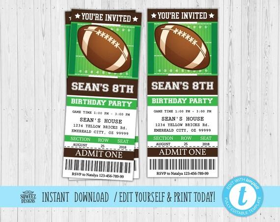 football invitation football party invitation football etsy