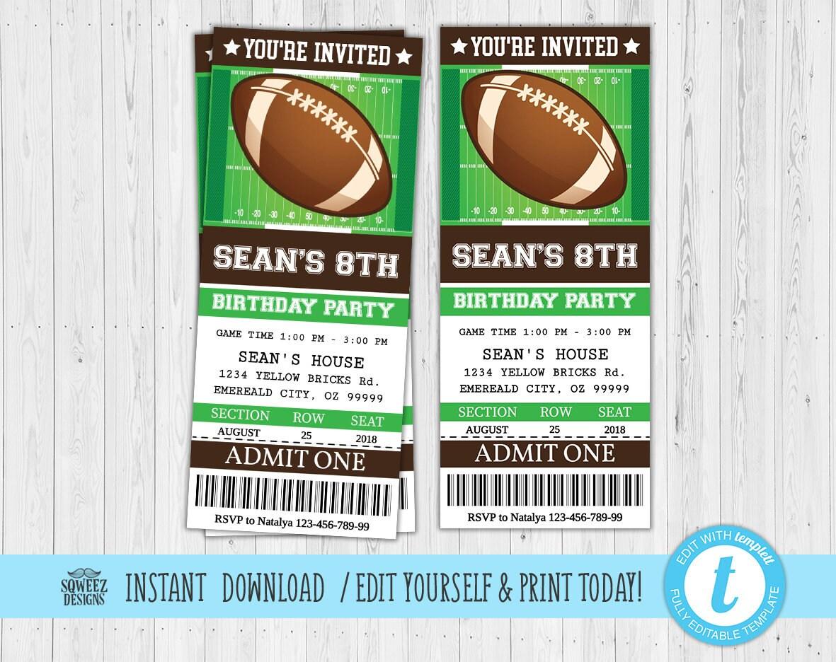 football invitation football party invitation football