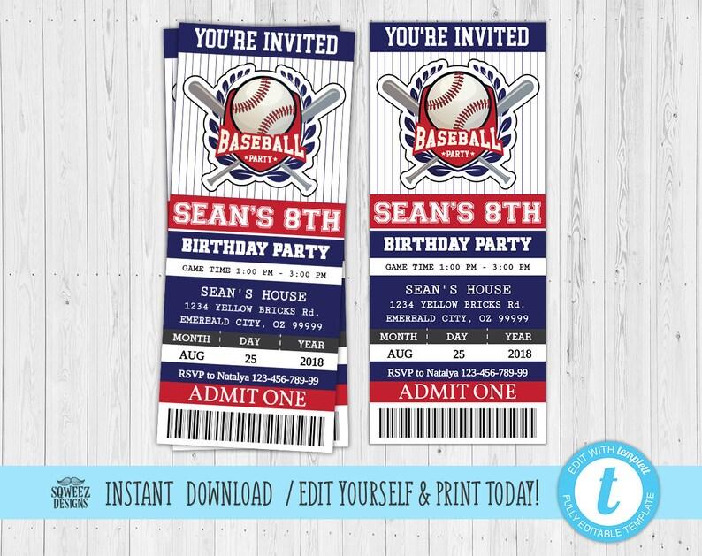 Baseball Birthday Invitation Ticket Printable Party
