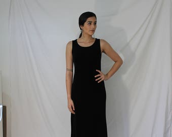 Thin Black Stretchy Dress - Vintage 90s Spandex Gown