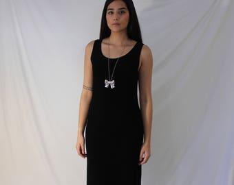 Long Black Stretchy Dress - Vintage 90s Spandex Gown