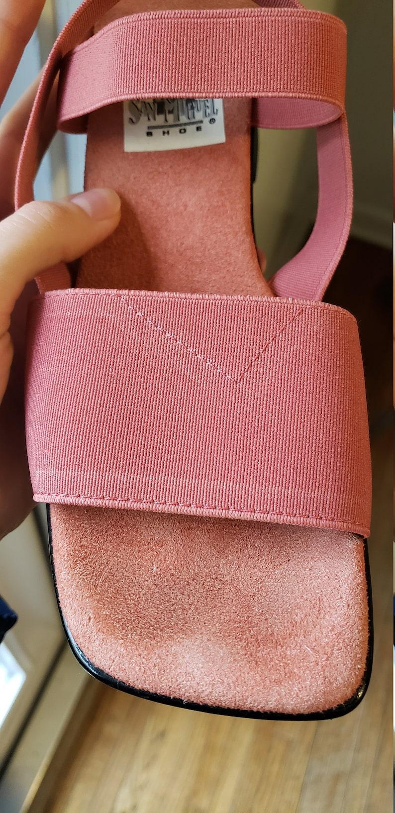 90s Vintage Coral Pink Elastic Strappy Sandals
