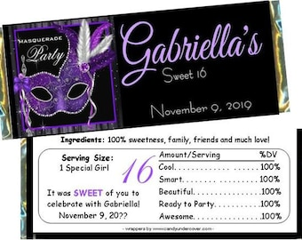 Black Digital File Printable Candy Bar Wrapper EDITABLE text Masquerade Party WB06 DOWNLOAD Instantly Masquerade Ball Hot pink