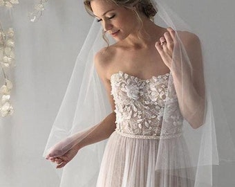 Classic Bridal Sheer Ivory Illusion Tulle Blusher Cathedral Wedding Veil