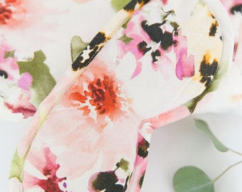 Floral Watercolor Print Soft Cotton Sleep Eye Mask