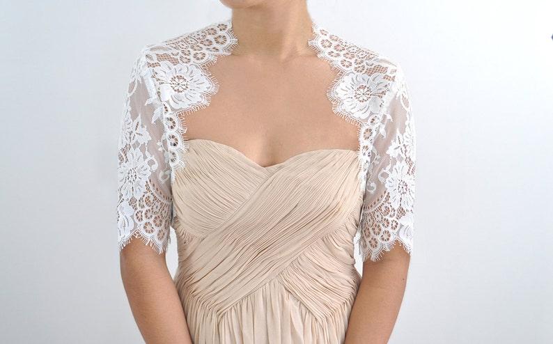 Valerie Bridal Chantilly Lace Bolero Shrug pale ivory off white