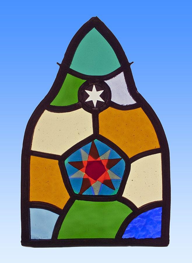 Glas In Lood Raamhanger.Ster Gebrandschilderd Glas In Lood Raamhanger Star Stained
