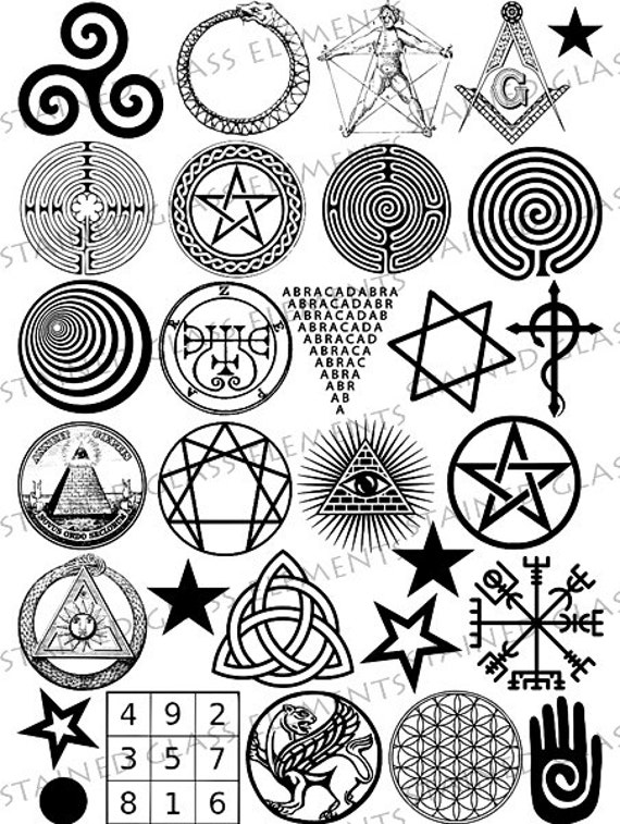 Black Ceramic Decals Fusible Transfers Magic Symbols Star Etsy