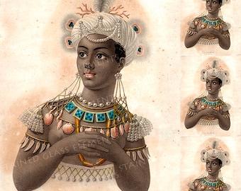 Exotic beauty ceramic decal, victorian ceramic decals, African girl, Africa, 陶瓷贴花, Seramik çıkartma, セラミックデカール, 760-850 ºC (1400-1562 ºF)