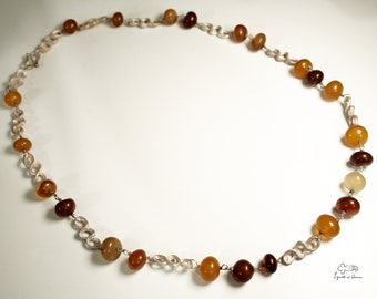 Silver necklace with carnelian