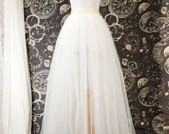 ebcbc4c8f69a Ivory Tulle Over Skirt - Adult Full Length Tutu, Wedding Skirt Overlay with  Ribbon Waist - Custom Made to Your Measurements