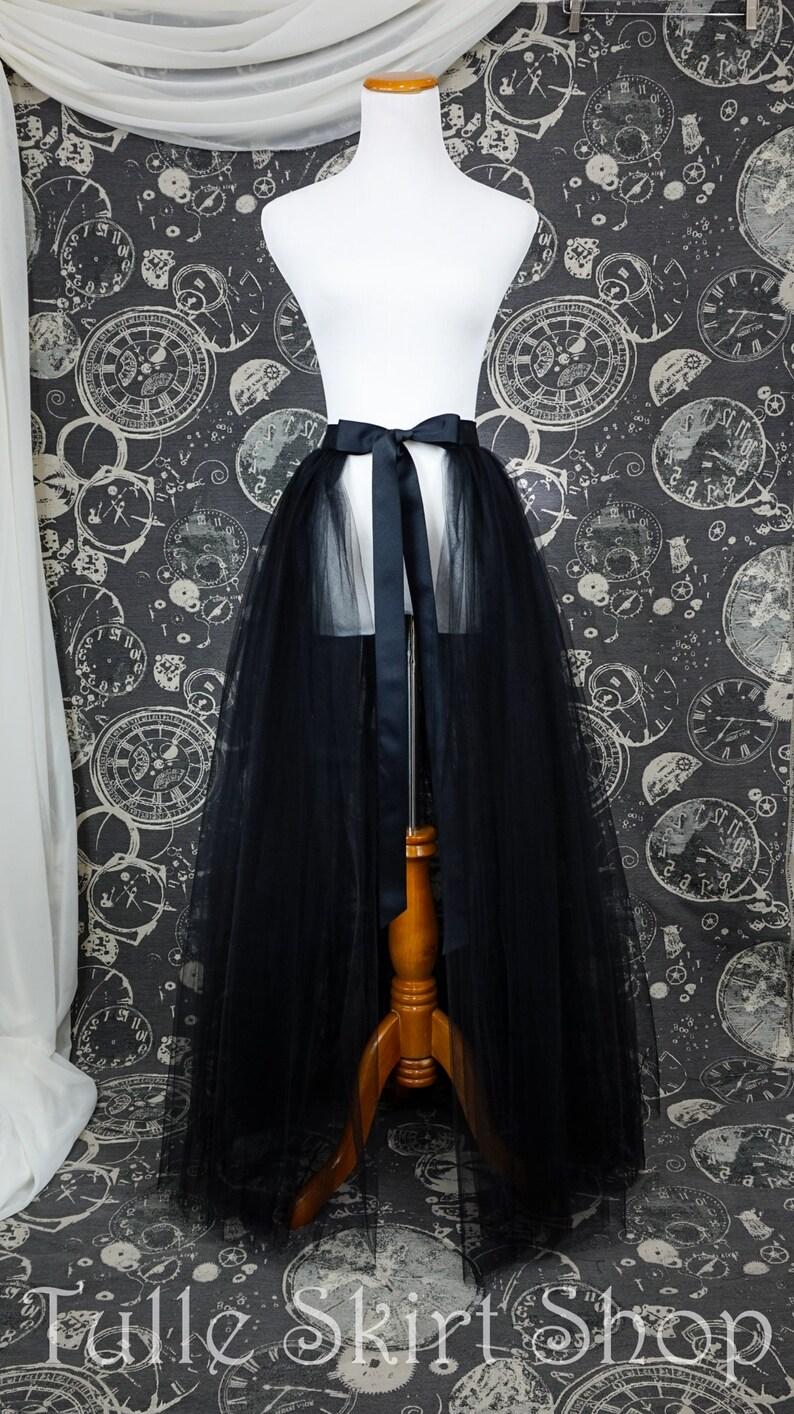 9f204c839eaa69 Black Tulle Over Skirt with Slit Adult Full Length Tutu | Etsy