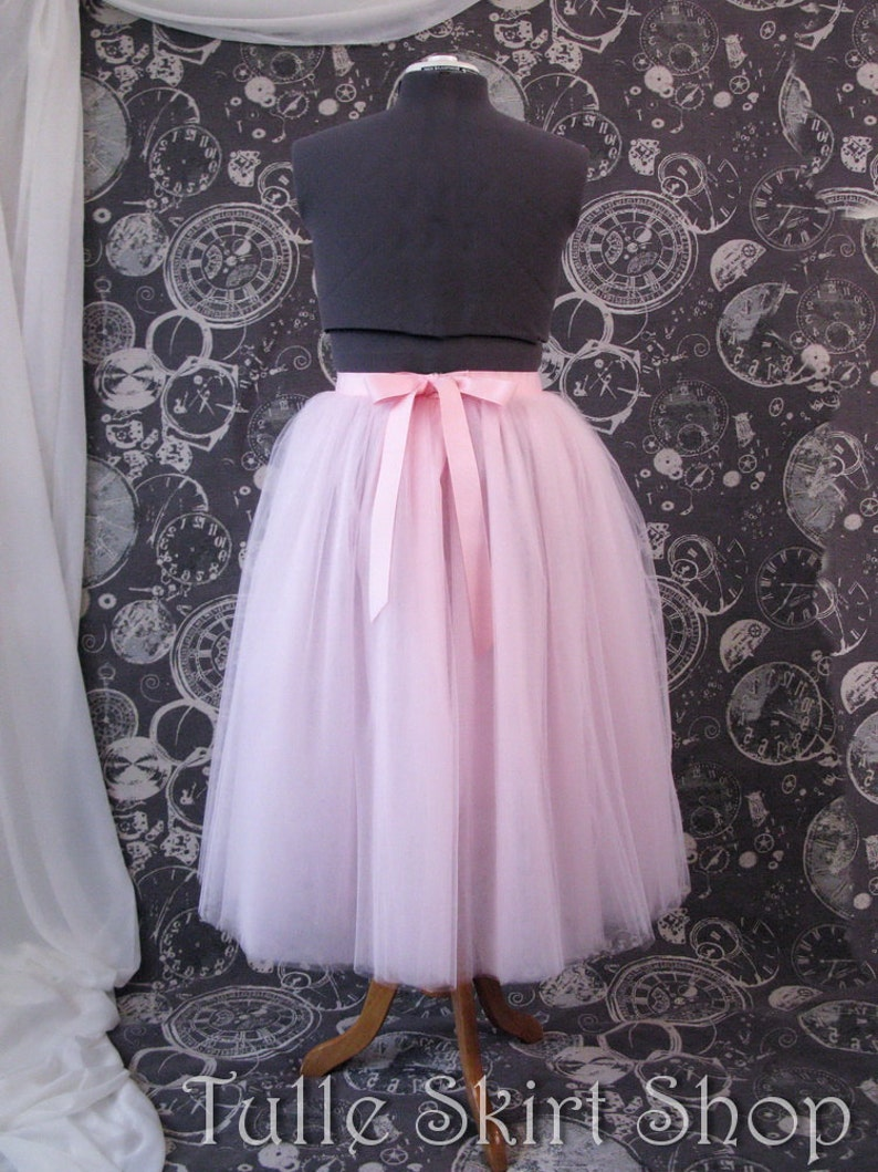 bef7c8938d Pink Plus Size Tulle Skirt with Ribbon Waist and Ties Tea | Etsy