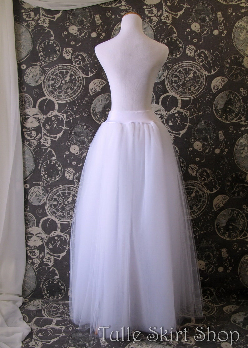 White Tulle Skirt Made to Order Adult full Length Tutu Perfect with Corsets Crinoline or Petticoat with Lycra waist Wedding Skirt