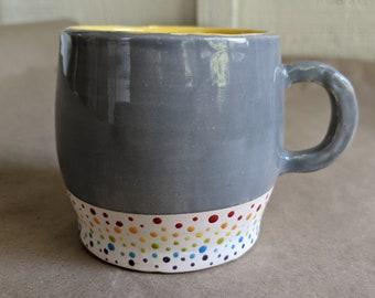 Hand thrown rainbow dot mug /handmade pottery /happy mug /ceramics /fired and glazed pottery