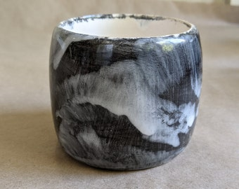 Black and white marbled abstract hand thrown pottery /handmade pottery /happy mug /ceramics /fired and glazed pottery