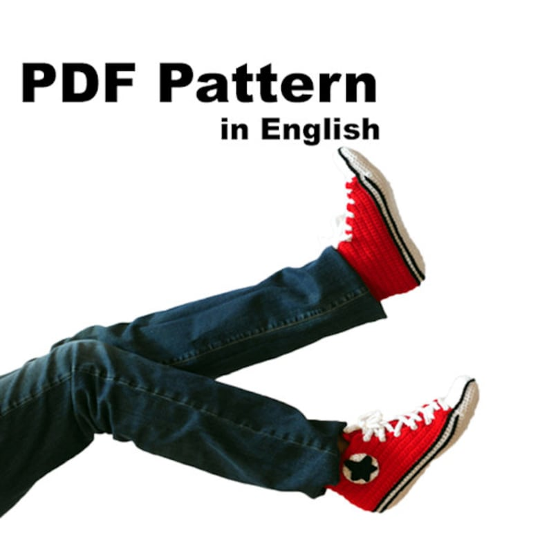 Adidas Inspired sneakers US 11 13 Men (EU 44 46) Sneakers Crochet Pdf Pattern for slippers+ pattern for outer sole