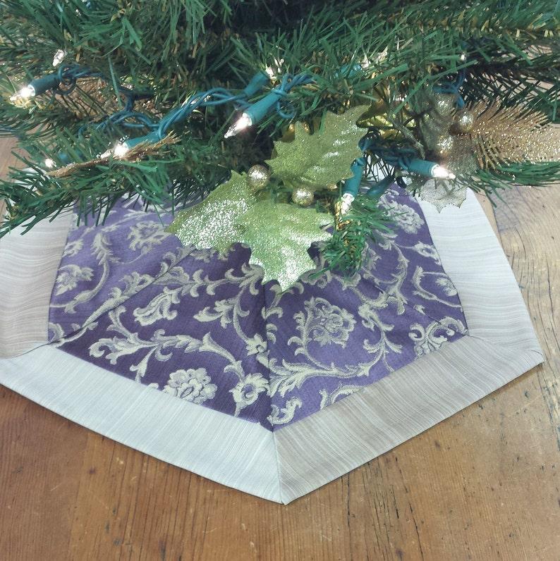 Mini Christmas Tree Skirt Purple Amethyst Damask Jacobean Scroll Champagne Silk Beige Tabletop