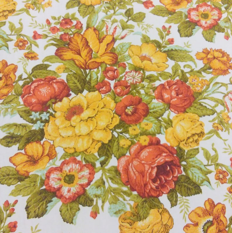 6.75 yards Waverly Vernon House Vintage Fabric Burnt Orange Yellow Olive Green Flowers Floral 70/'s 80/'s retro by the yardage
