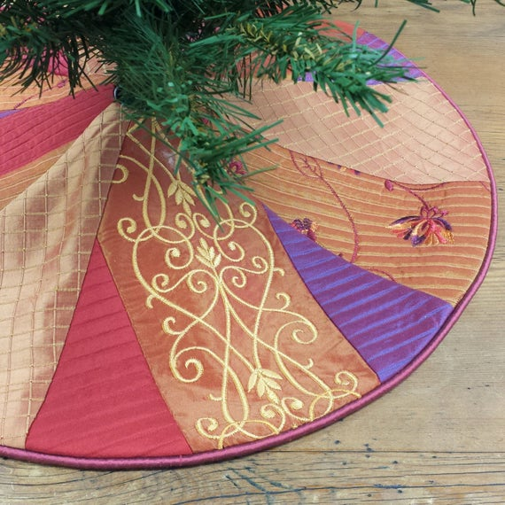 Purple Christmas Tree Skirt.23 Mini Christmas Tree Skirt Crazy Boho Patchwork Small Tabletop Vibrant Colorful Whimsical Jewel Tones Purple Orange Red