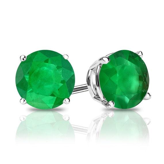 f59a734f6b0b3 Emerald stud earrings, 14k gold emerald stud earrings, natural emerald  earrings studs, AAA quality emerald earrings, May birthstone earrings