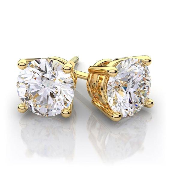 1 Carat Yellow Gold Diamond Stud Earrings 14k Diamond Gold Etsy