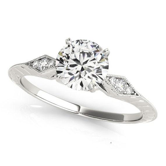 White Gold Diamond Cluster Engagement Ring Round Diamond Side Etsy