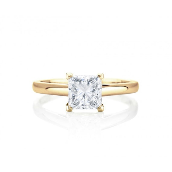 Yellow Gold Princess Cut Solitaire Diamond Engagement Ring Etsy