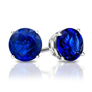 Details about  /2 Emerald Solitaire Studs Blue Sapphire CZ 18k Rose Gold Earrings Push back