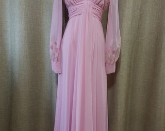 vintage 70's Pink Chiffon Maxi dress gown by Robert David Morton sz 4-6