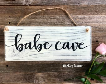 Babe cave sign, Girls room sign, Rustic nursery decor, Girls room decor, Rustic home decor, Baby girl sign, Rustic wood sign, Door sign