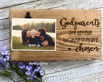 Godparents gift, Godparents are special because they are chosen, Godparents picture frame, Godparent quotes, Photo frame, Godparent proposal
