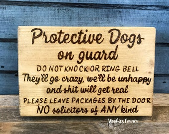 Charming Crazy Dog Sign, Protective Dog Sign, No Soliciting Sign, Funny No Soliciting ,