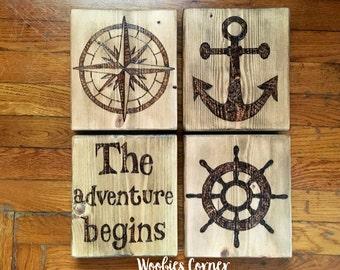 Nautical nursery, Nautical nursery art, Nautical nursery wall decor, Baby boy nursery, Rustic nursery decor, The adventure begins