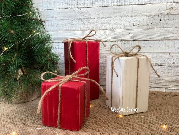 Primitive Christmas decor Wood Christmas presents Wood | Etsy