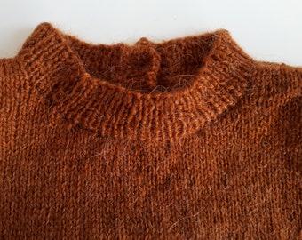 Vintage Chestnut Brown V-Neck Wool blend Knit Blouse Shirt Top Pullover Sweater Sweatshirt S L