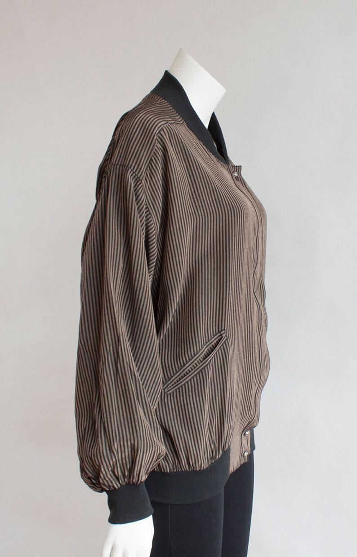 Blazer Bomber Jacket Striped Black and Brown Blazer Vintage  S-M