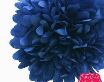1 x 35cms (14 inches) Dark NAVY Blue Tissue Paper POM POM / Pompom / Paper Flower / Retro Kids Party Supplies / Wedding / Baby Shower